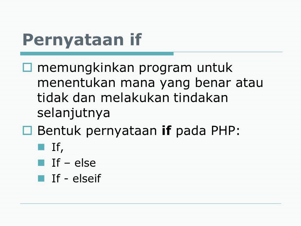 Pernyataan if memungkinkan program untuk menentukan mana yang benar atau tidak dan melakukan tindakan selanjutnya.
