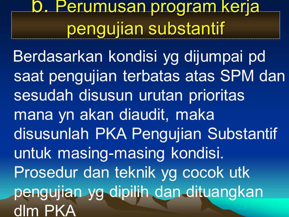 b. Perumusan program kerja pengujian substantif