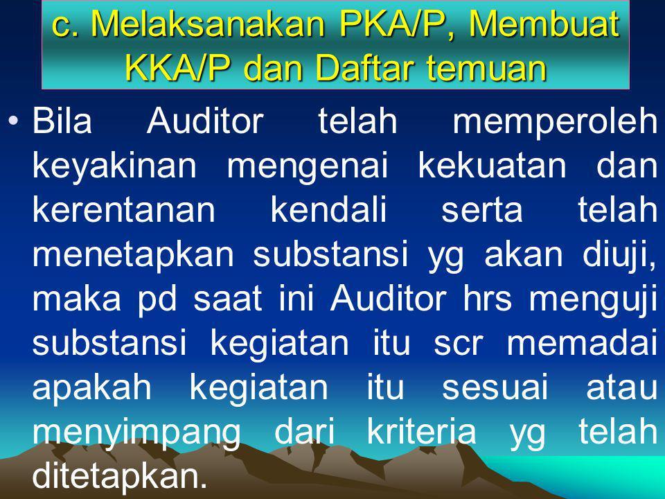 c. Melaksanakan PKA/P, Membuat KKA/P dan Daftar temuan
