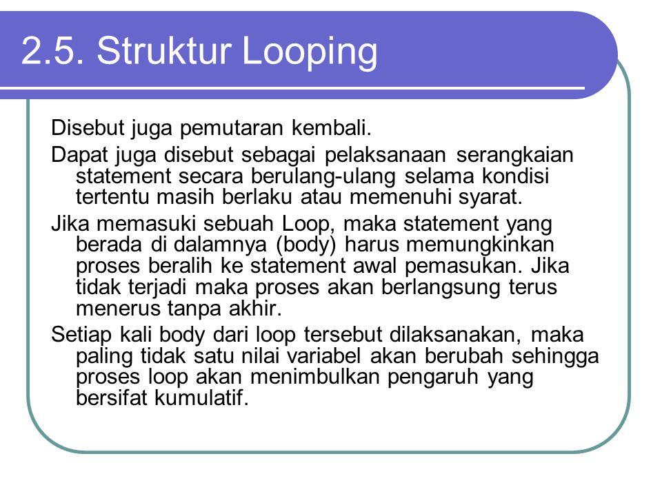 2.5. Struktur Looping Disebut juga pemutaran kembali.