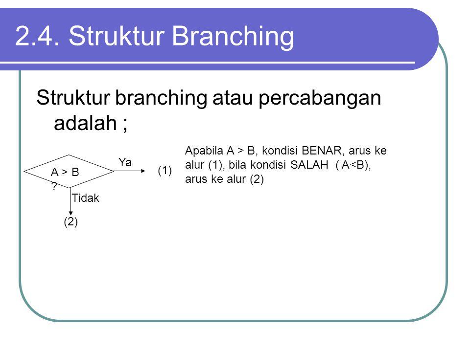 2.4. Struktur Branching Struktur branching atau percabangan adalah ;