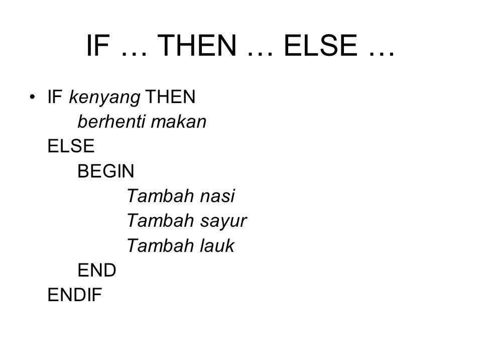 IF … THEN … ELSE … IF kenyang THEN berhenti makan ELSE BEGIN