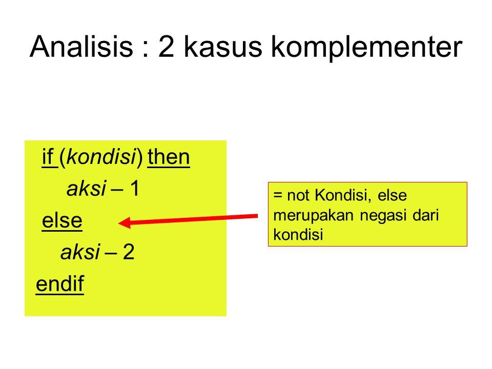 Analisis : 2 kasus komplementer