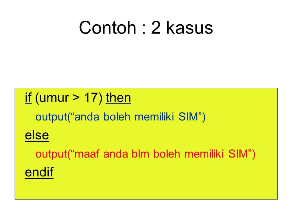 Contoh : 2 kasus if (umur > 17) then