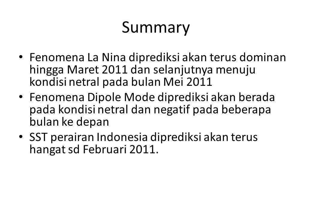 Summary Fenomena La Nina diprediksi akan terus dominan hingga Maret 2011 dan selanjutnya menuju kondisi netral pada bulan Mei 2011.