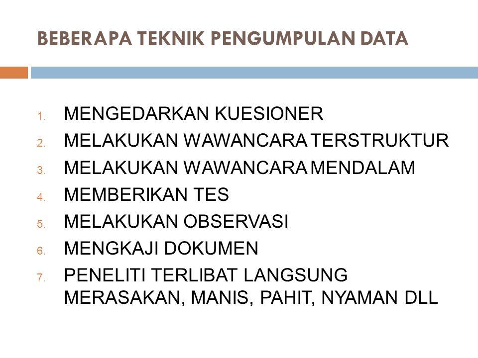 BEBERAPA TEKNIK PENGUMPULAN DATA