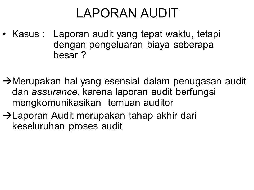 Bab_3 Laporan Audit LAPORAN AUDIT. Kasus : Laporan audit yang tepat waktu, tetapi dengan pengeluaran biaya seberapa besar