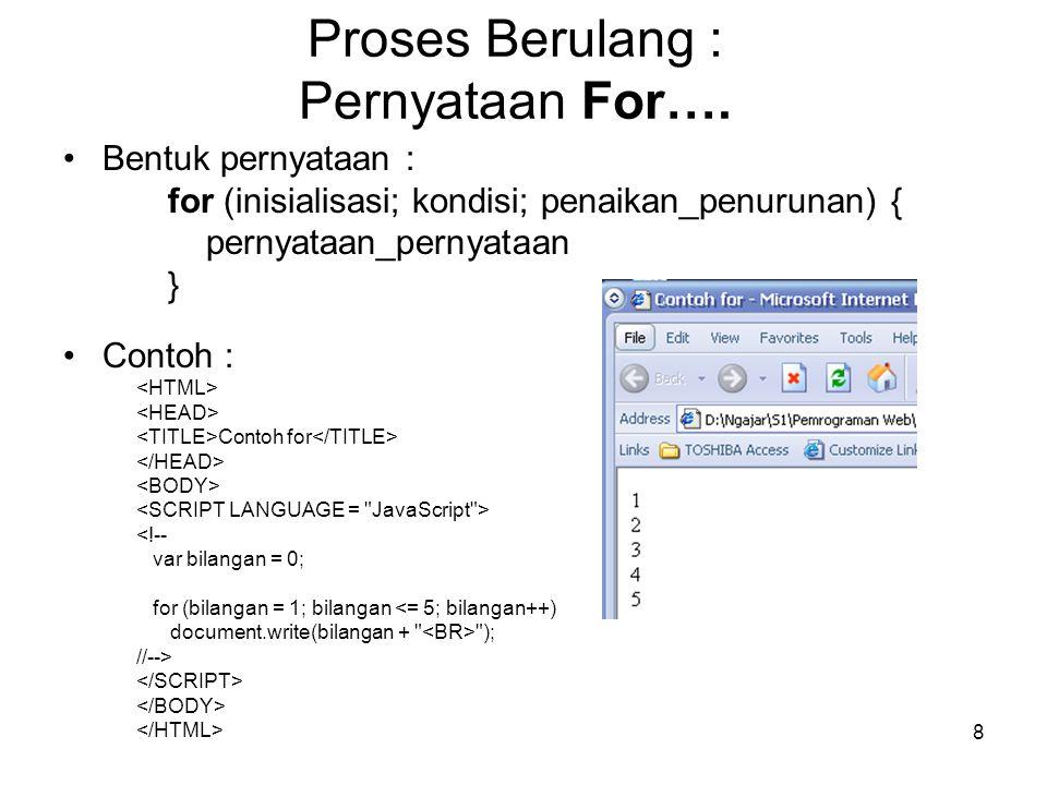 Proses Berulang : Pernyataan For….
