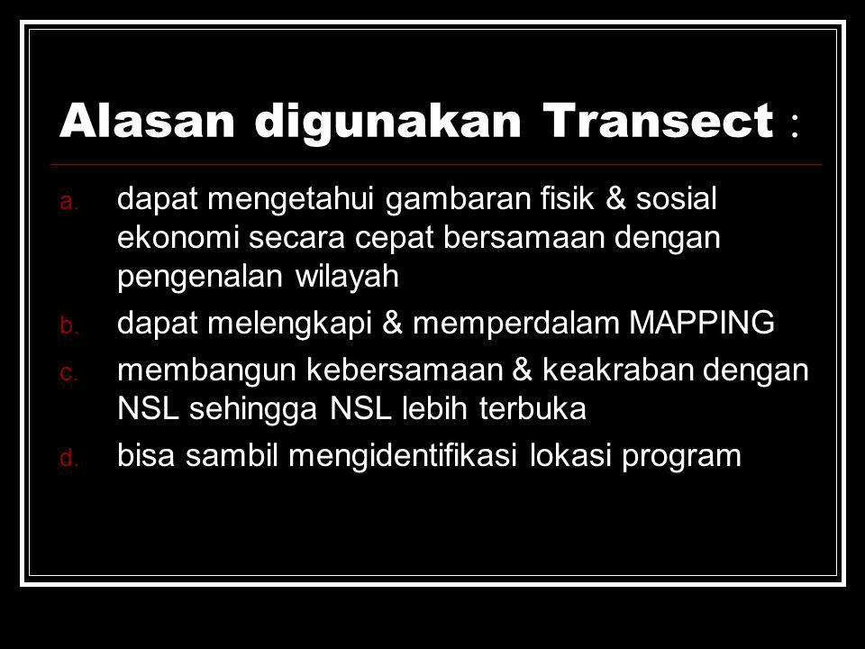 Alasan digunakan Transect :