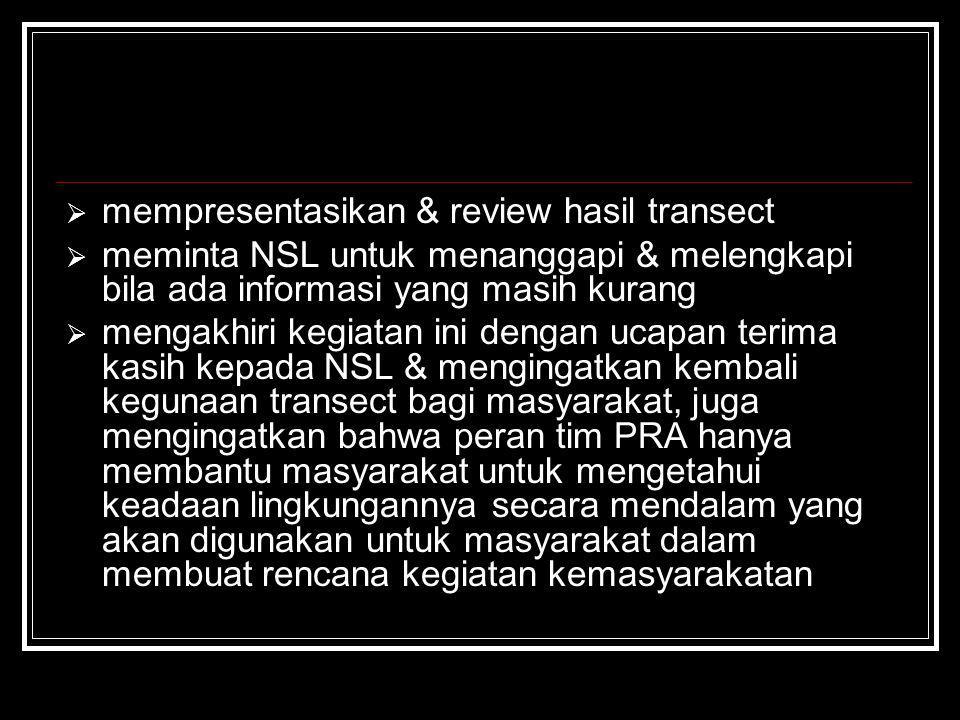mempresentasikan & review hasil transect