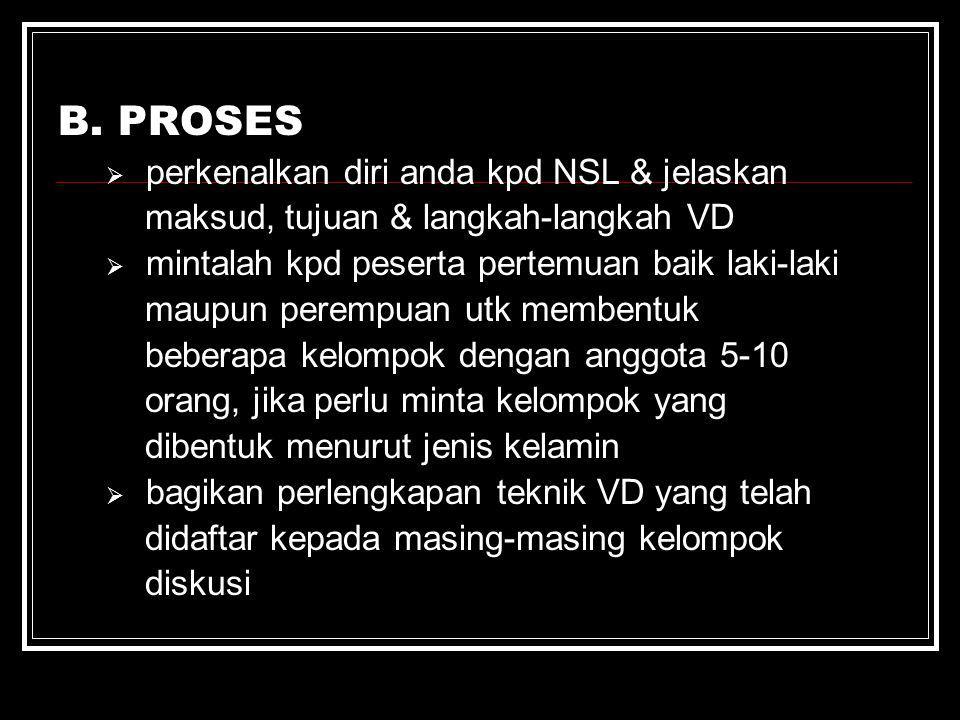 B. PROSES perkenalkan diri anda kpd NSL & jelaskan