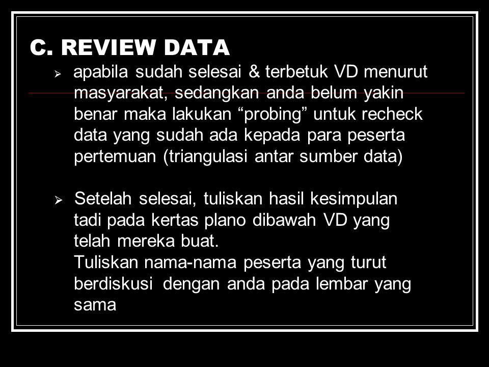 C. REVIEW DATA masyarakat, sedangkan anda belum yakin