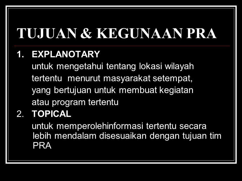 TUJUAN & KEGUNAAN PRA 1. EXPLANOTARY