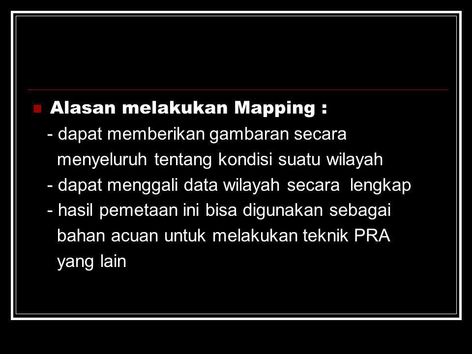 Alasan melakukan Mapping :