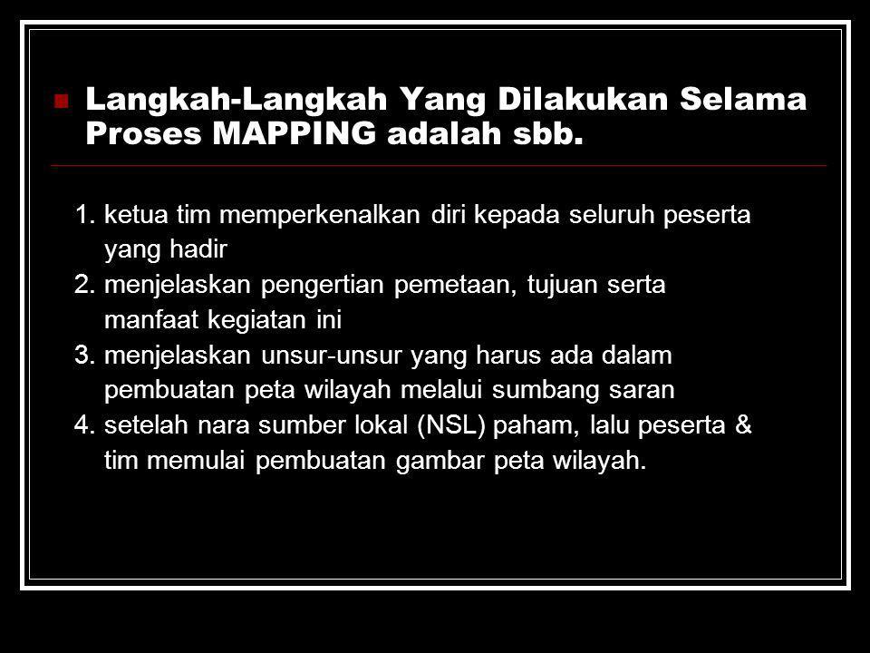 Langkah-Langkah Yang Dilakukan Selama Proses MAPPING adalah sbb.