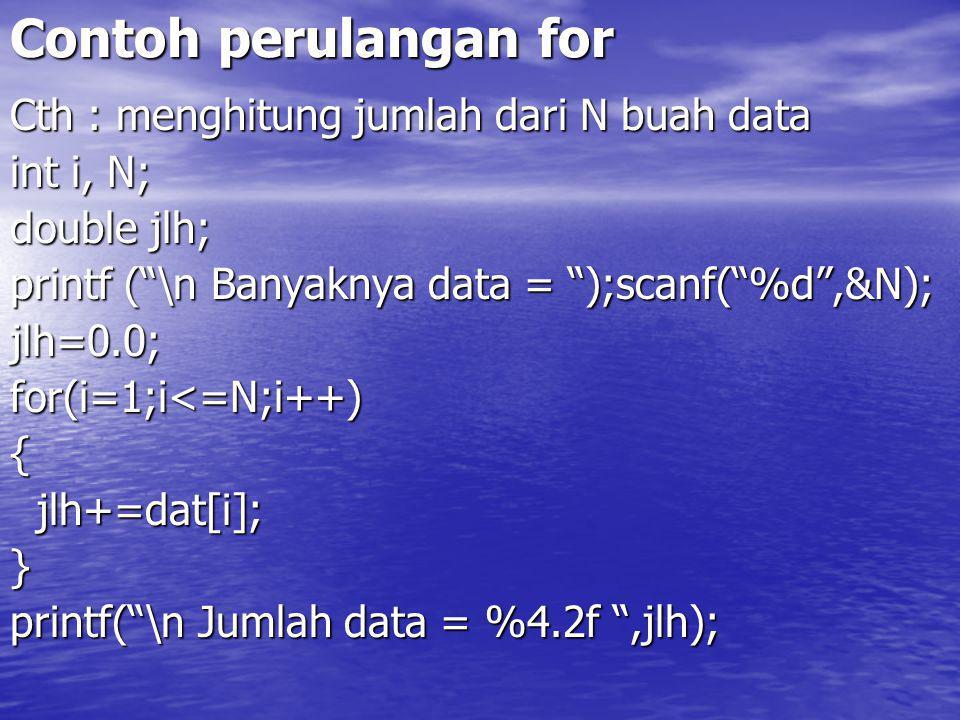 Contoh perulangan for Cth : menghitung jumlah dari N buah data
