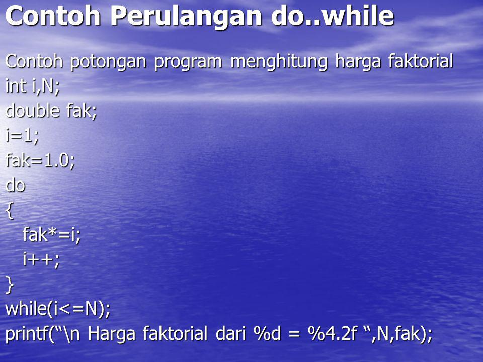 Contoh Perulangan do..while