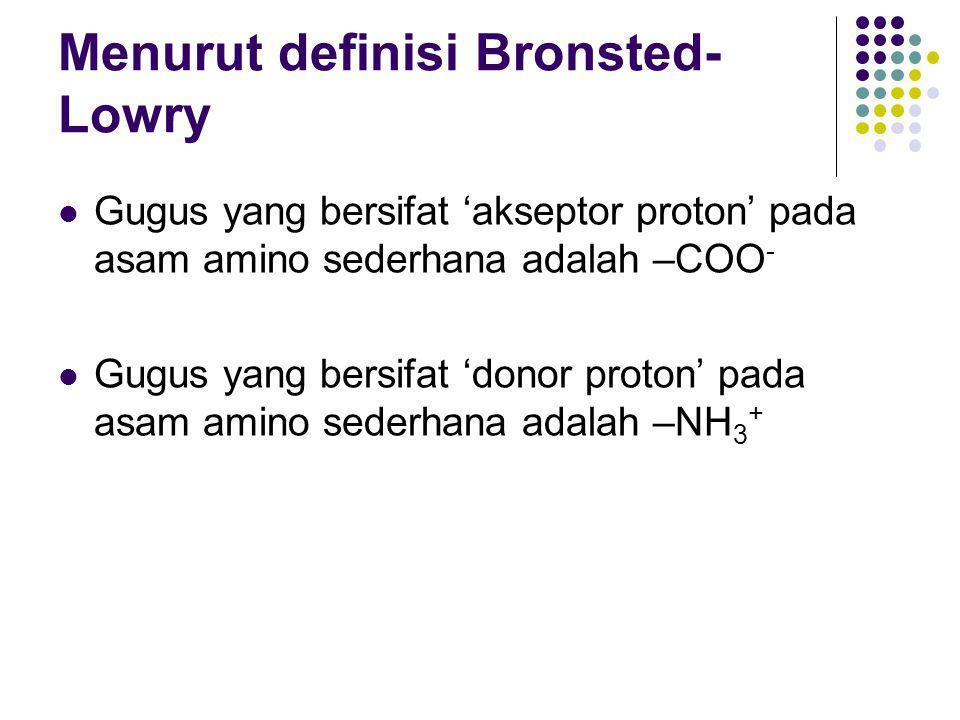Menurut definisi Bronsted-Lowry