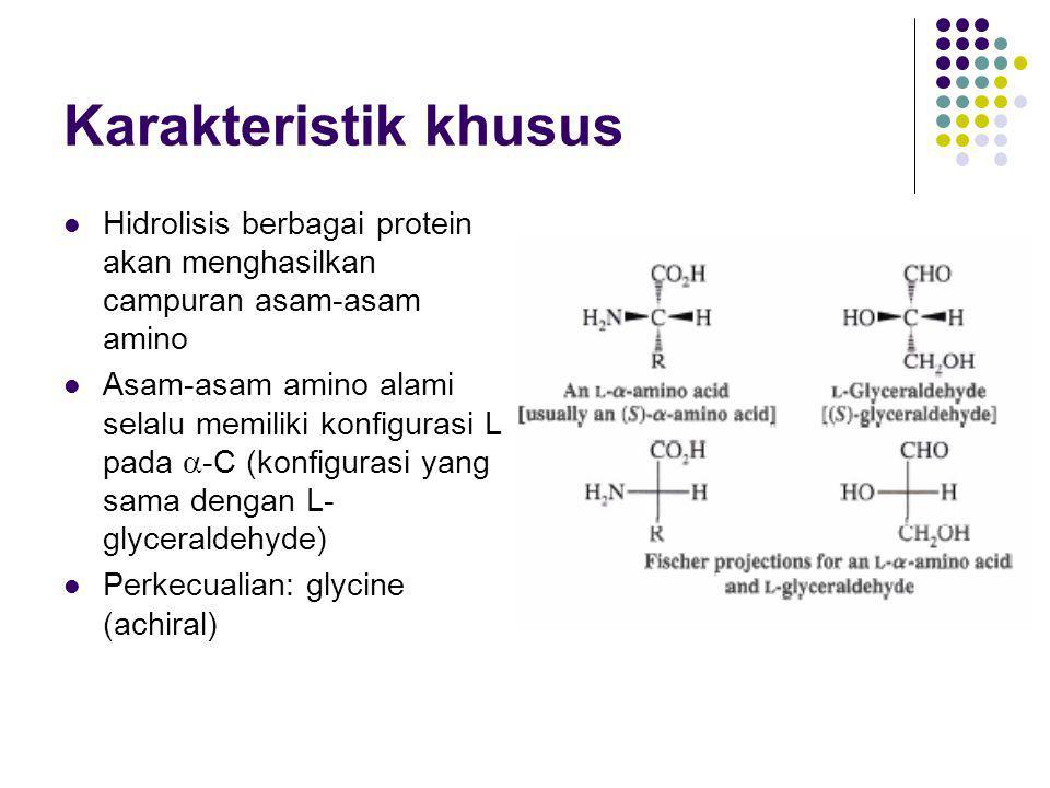 Karakteristik khusus Hidrolisis berbagai protein akan menghasilkan campuran asam-asam amino.