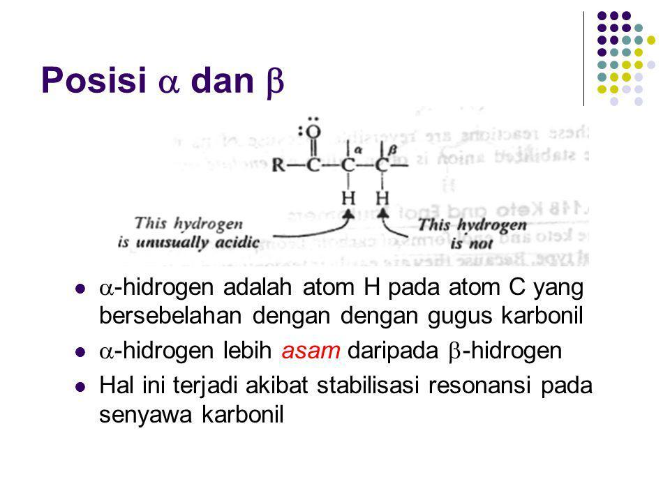 Posisi  dan  -hidrogen adalah atom H pada atom C yang bersebelahan dengan dengan gugus karbonil.