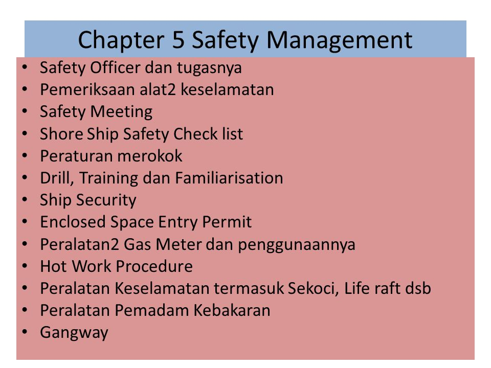 Chapter 5 Safety Management
