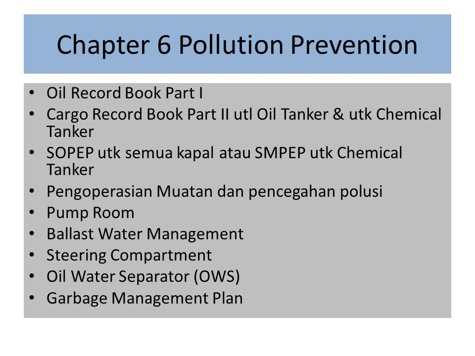 Chapter 6 Pollution Prevention