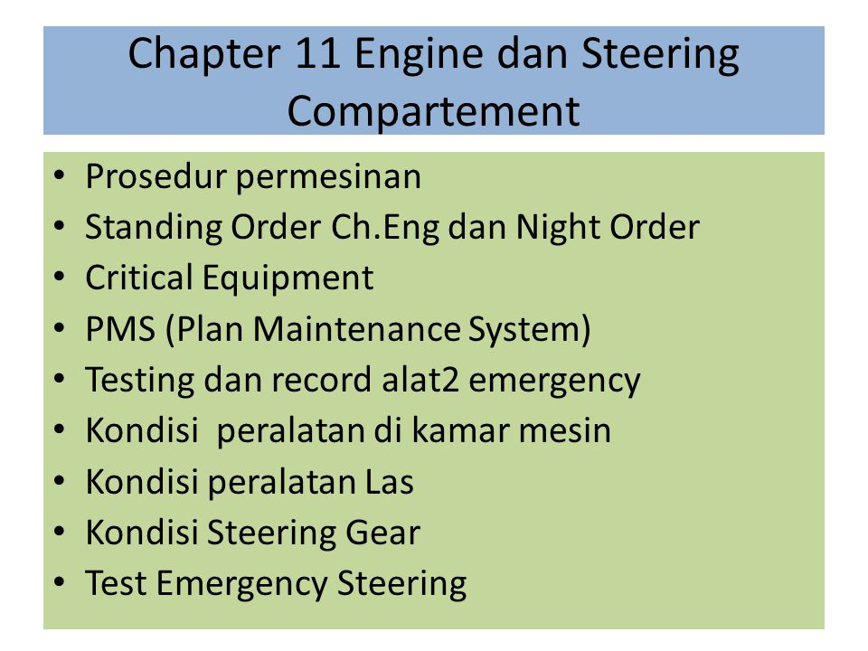 Chapter 11 Engine dan Steering Compartement