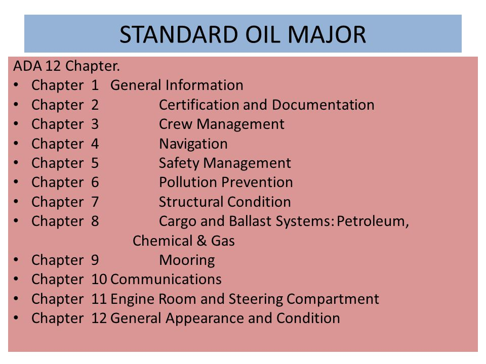 STANDARD OIL MAJOR ADA 12 Chapter. Chapter 1 General Information