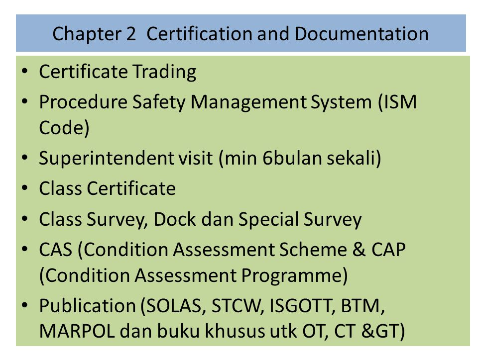 Chapter 2 Certification and Documentation