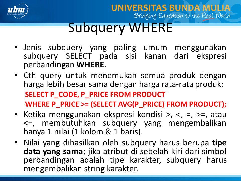 Subquery WHERE Jenis subquery yang paling umum menggunakan subquery SELECT pada sisi kanan dari ekspresi perbandingan WHERE.