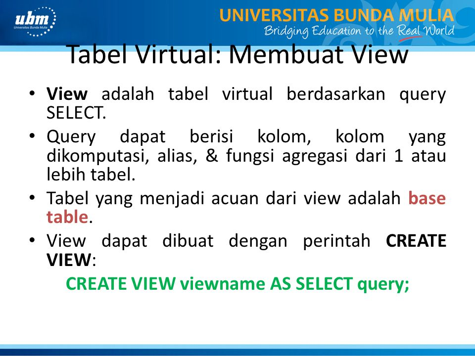 Tabel Virtual: Membuat View