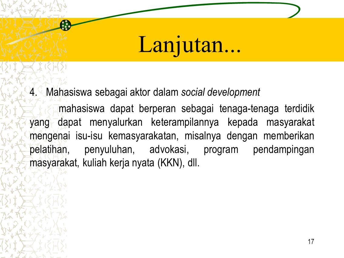 Lanjutan... Mahasiswa sebagai aktor dalam social development