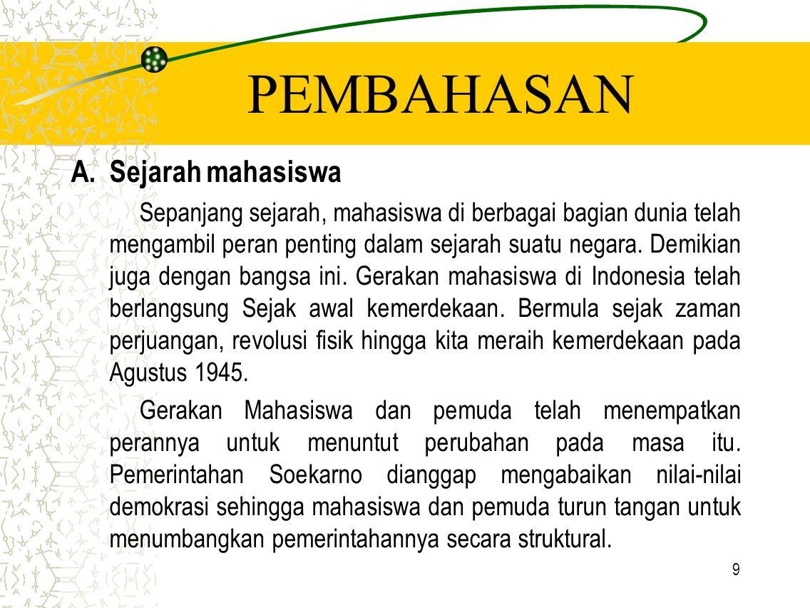 PEMBAHASAN Sejarah mahasiswa