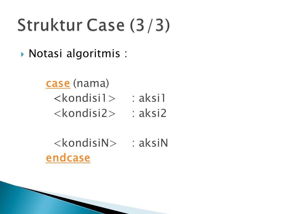 Struktur Case (3/3) Notasi algoritmis : case (nama)