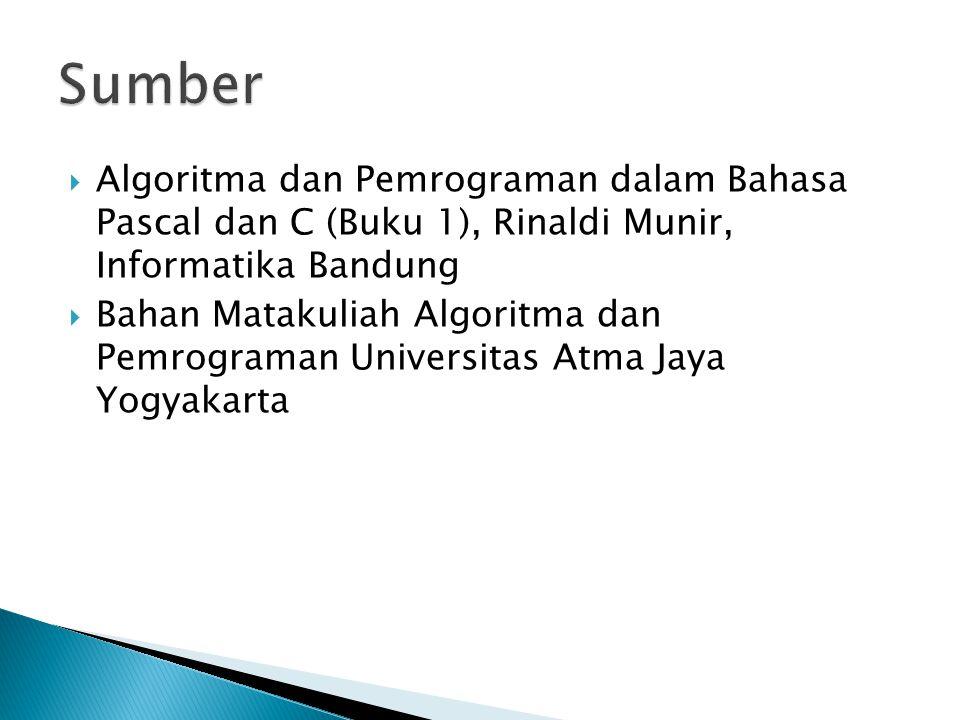 Sumber Algoritma dan Pemrograman dalam Bahasa Pascal dan C (Buku 1), Rinaldi Munir, Informatika Bandung.