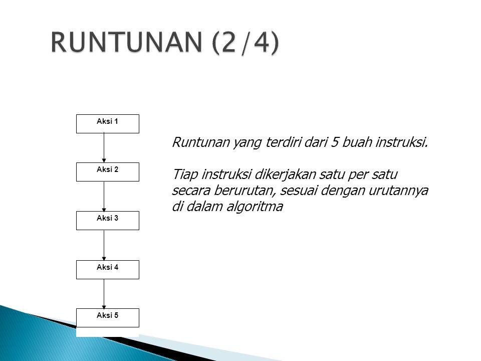 RUNTUNAN (2/4) Runtunan yang terdiri dari 5 buah instruksi.