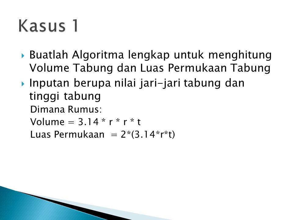 Kasus 1 Buatlah Algoritma lengkap untuk menghitung Volume Tabung dan Luas Permukaan Tabung.