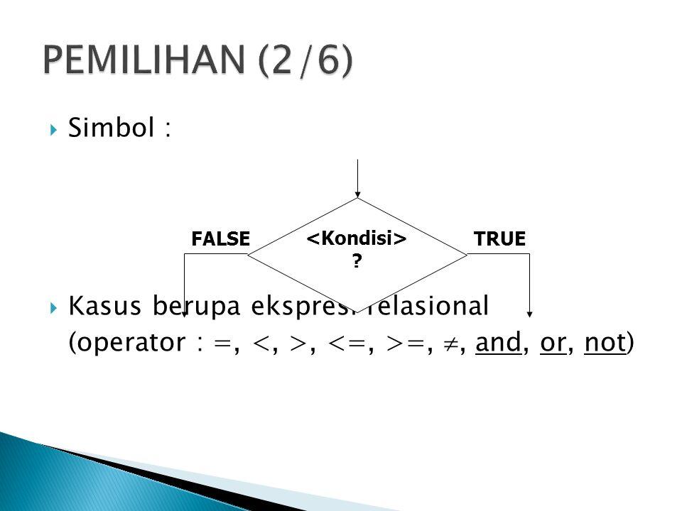 PEMILIHAN (2/6) Simbol : Kasus berupa ekspresi relasional