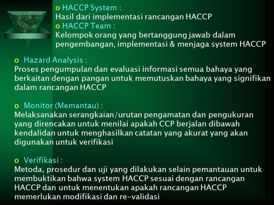 HACCP System : Hasil dari implementasi rancangan HACCP. HACCP Team :
