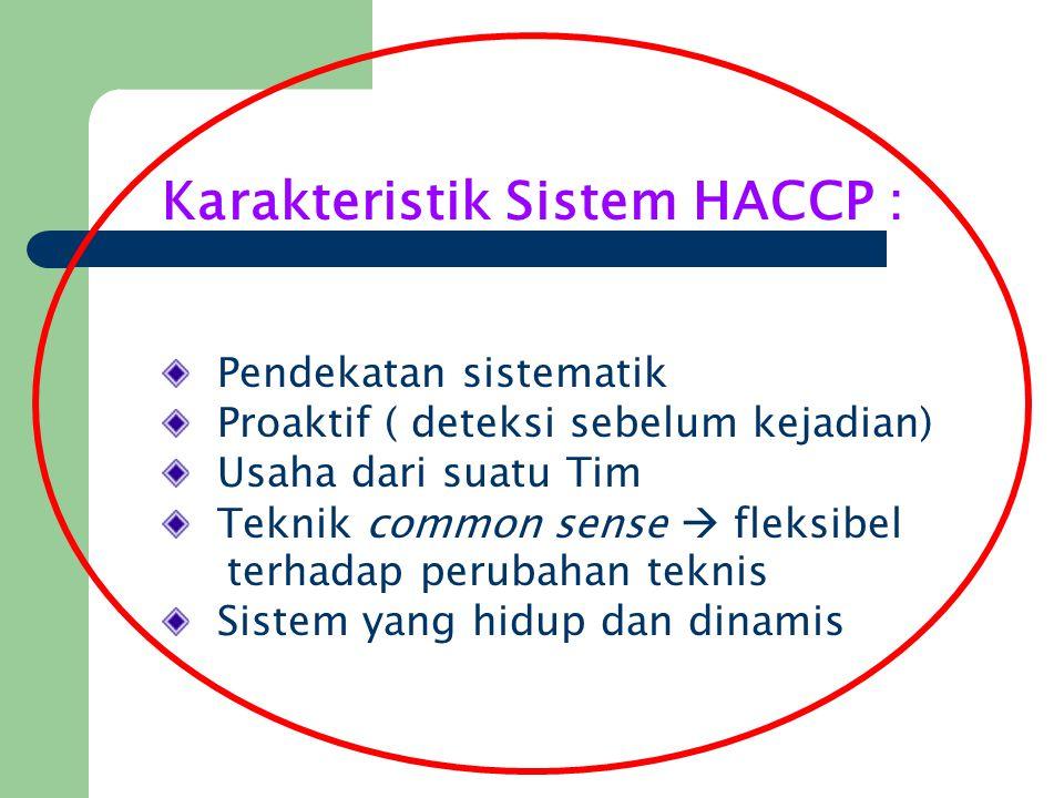 Karakteristik Sistem HACCP :