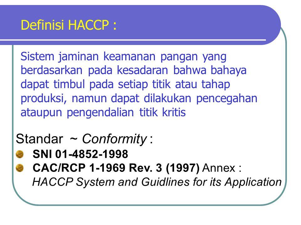 Definisi HACCP : Standar ~ Conformity :