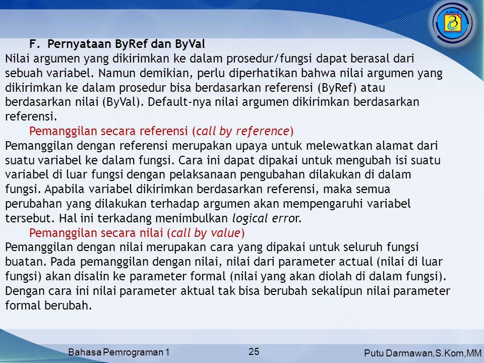 Pernyataan ByRef dan ByVal