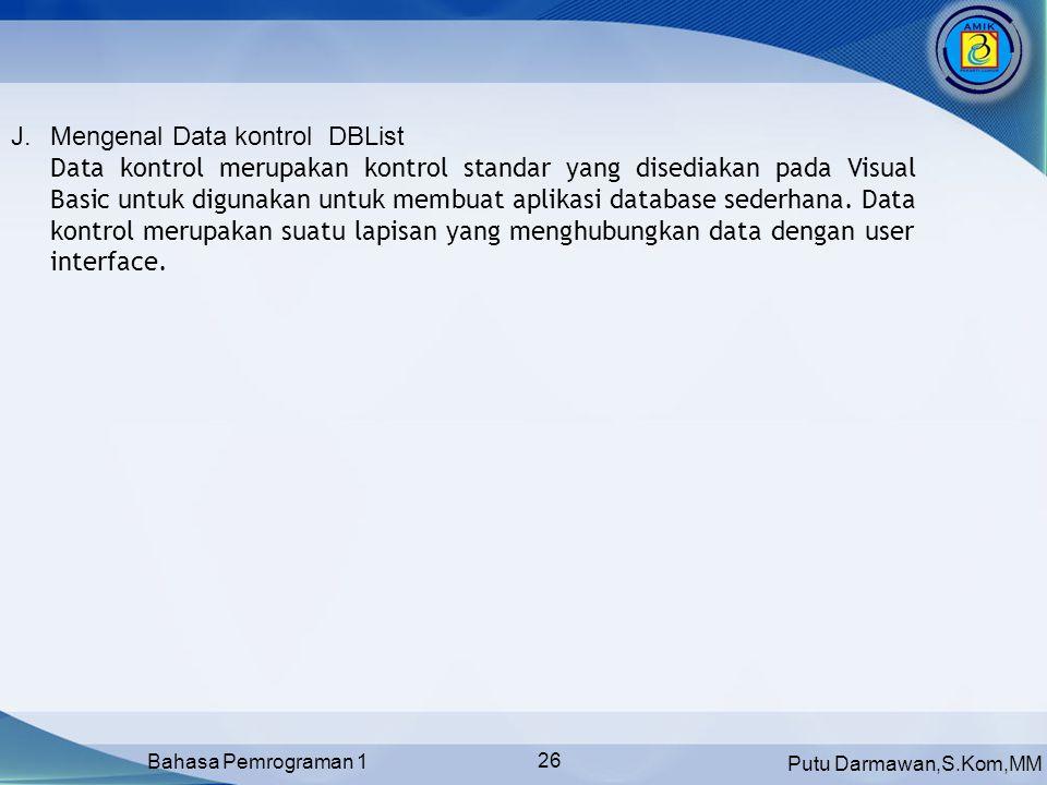 Mengenal Data kontrol DBList