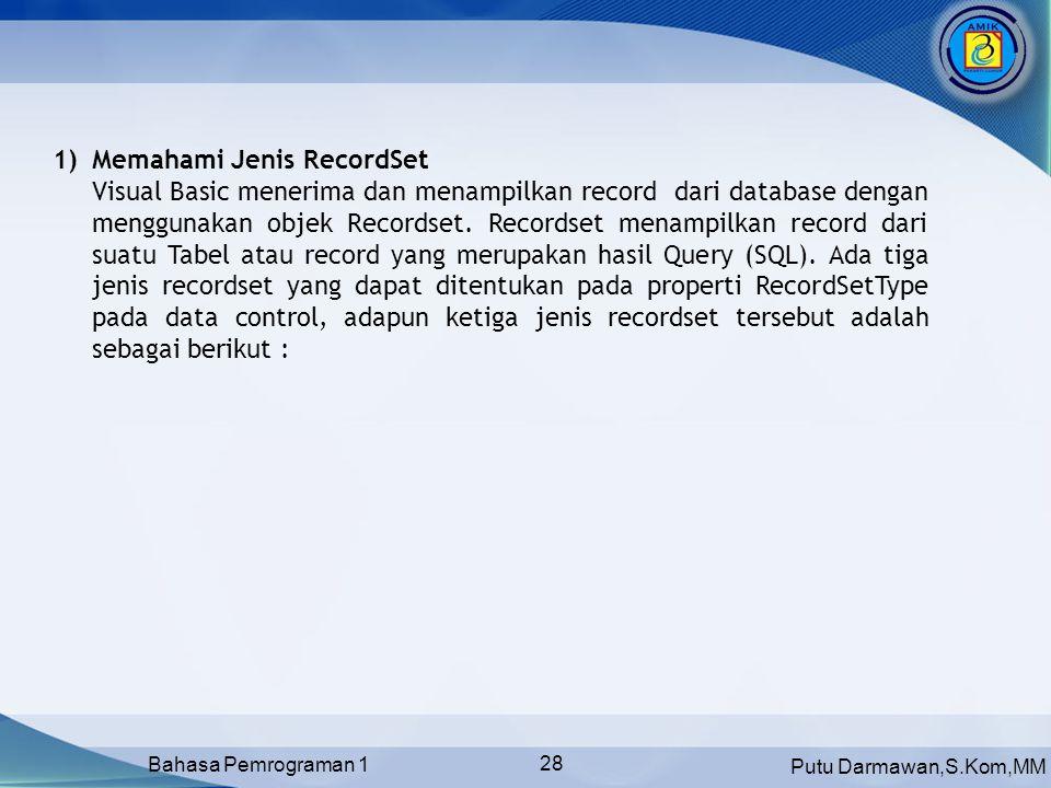 Memahami Jenis RecordSet