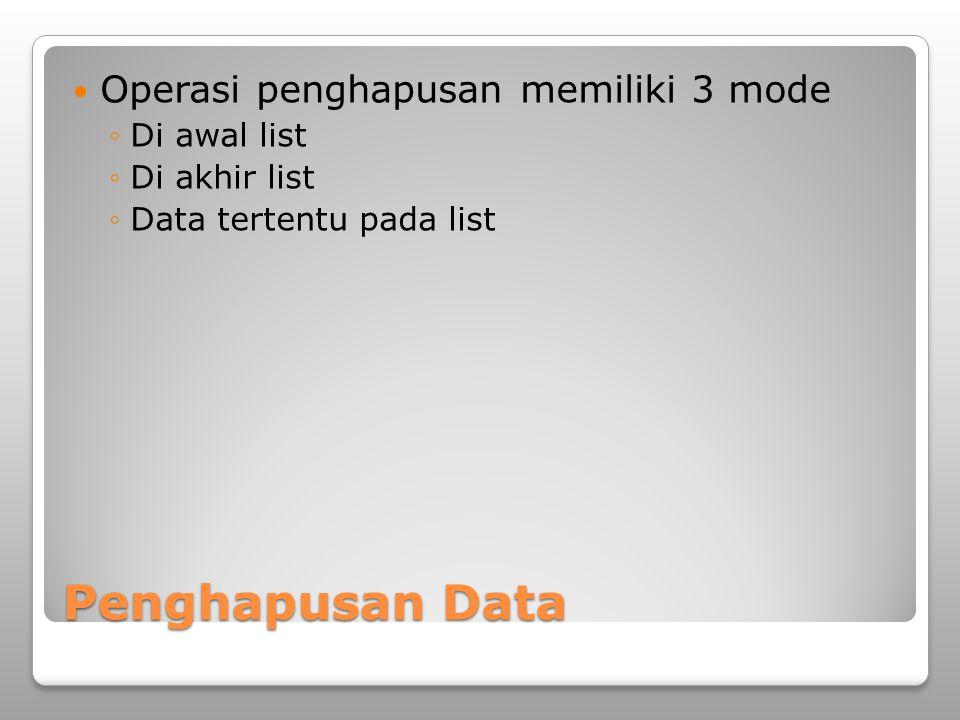 Penghapusan Data Operasi penghapusan memiliki 3 mode Di awal list