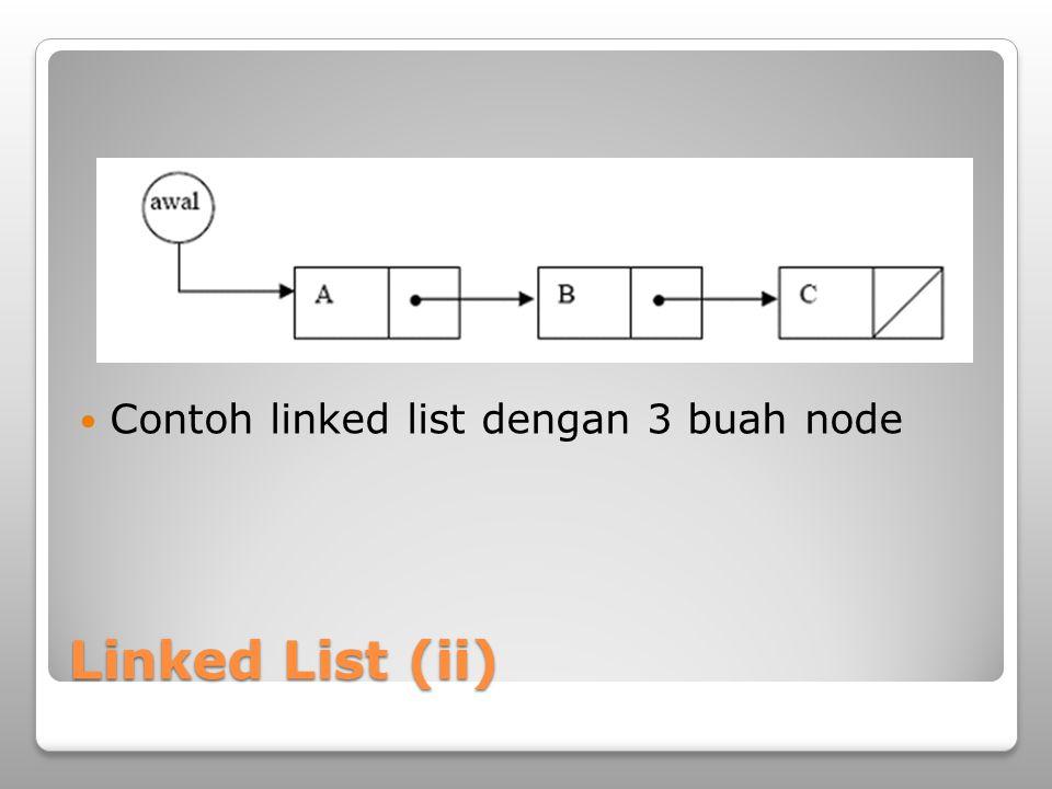 Contoh linked list dengan 3 buah node
