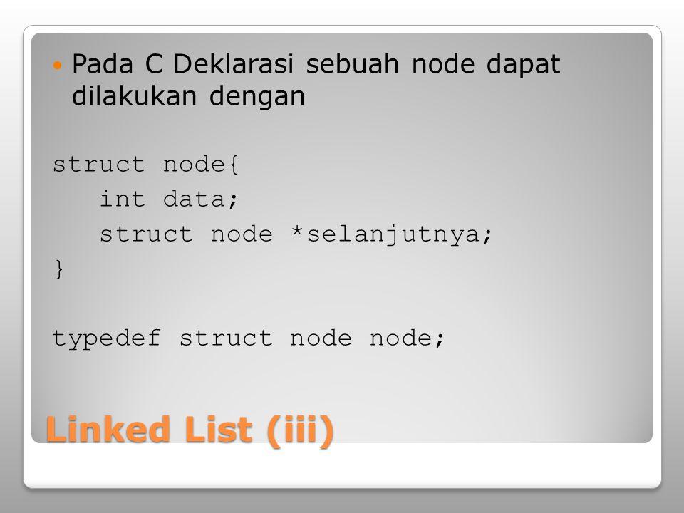 Linked List (iii) Pada C Deklarasi sebuah node dapat dilakukan dengan