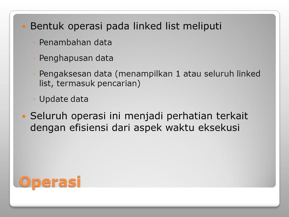 Operasi Bentuk operasi pada linked list meliputi