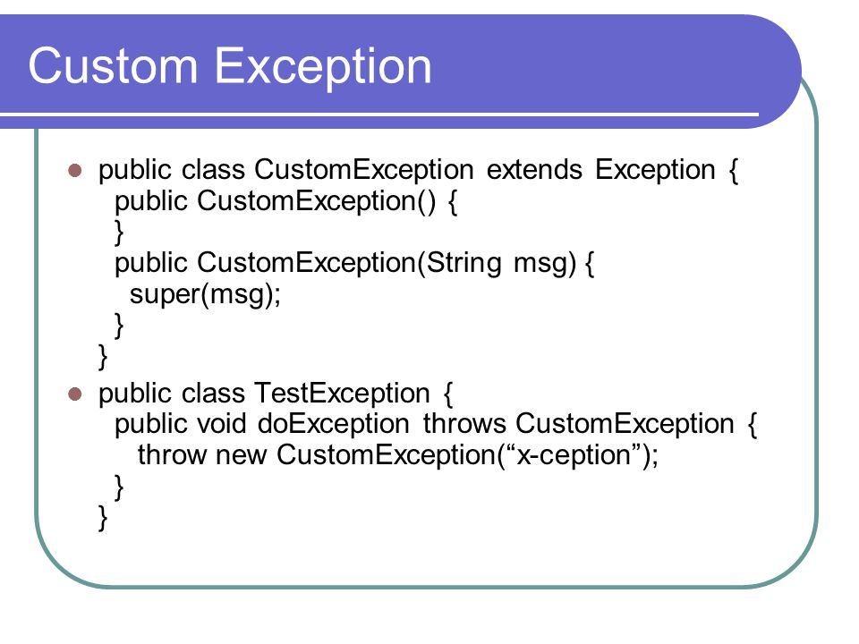 Custom Exception