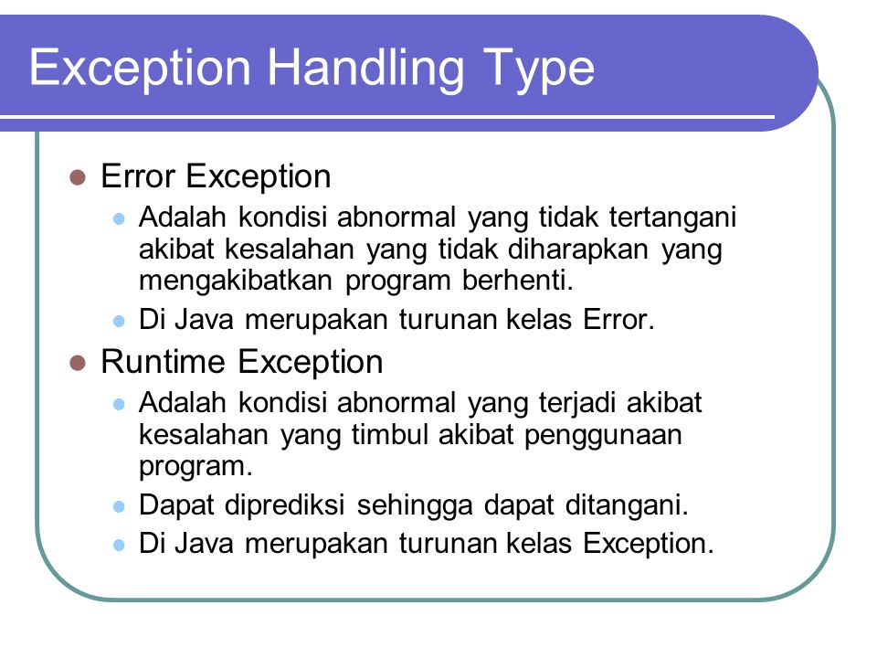 Exception Handling Type